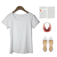 Simple Design Cotton Vintage Round-neck Short Sleeve T-shirts [4918271428]