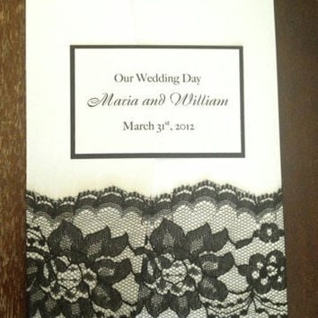 50 Wedding Linen White with Black Lace Wedding Invitations - Sweet Sixteen