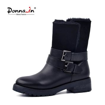 DONNA-IN 2017 winter new styles real fur mid-calf boots thick outsole metal buckle women boots warm wool  low heel snow boots