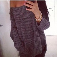 Grey Plain Pockets Off Shoulder Oversized Fashion Casual Pullover Sweater