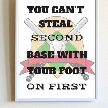 Baseball Softball Inspirational Sport Quote Athlete Bases Gift Print Poster Bedroom Wall Decor