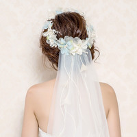 Flower Crown Veil Tiaras Wedding  Accessories