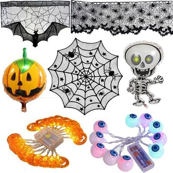 Halloween Balloons LED Pumpkin lights Black Lace Spiderweb Tablecloths Trick Props Cosplay Costume Halloween Decoration Supplies