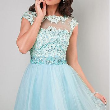 [79.99] Elegant Tulle Bateau Neckline A-line Homecoming Dresses with Venice lace - dressilyme.com