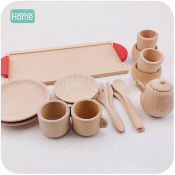 MamimamiHome Wooden Cutlery Pretend Play Tea Set Wooden Educational Activity Montessori Toddler Game Inspired Toys Baby Rattle