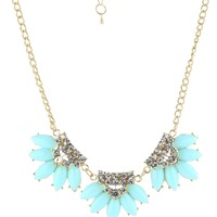 Light Blue Station with Crystal Accent Gold-Tone Statement Necklace, 15""