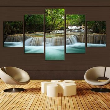 Unframed 5 Panel Green Waterfall Landscape Natuer Wall Art Oil Painting on Canvas Printed Painting Pictures Decor Painting Large