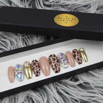 Nude Leopard Press On Nails | Gold Chrome and Swarovski Crystals | Hand Painted Nail Art Design | Available any shape and size