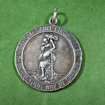 Vintage Religious Medal Saint Christopher Safety Protection Catholic Religious Jewelry Sterling Silver Necklace Pendant
