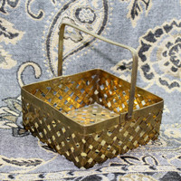 Brass Woven Basket with Movable Pressed Metal Handle