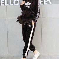 """Adidas"" Women Fashion Casual Velvet Multicolor Letter Webbing Hooded Long Sleeve Sweater Trousers Set Two-Piece Sportswear"