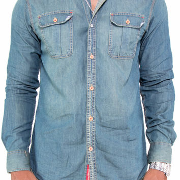 Button Up Antique Wash Denim Shirt