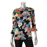 Lauren Ralph Lauren Womens Cotton Floral Print Pullover Top