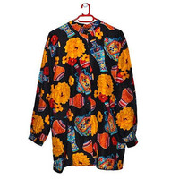 Novelty Print Floral Silk Blouse Womens Vintage Button Up Black Red Yellow Medium Large M L
