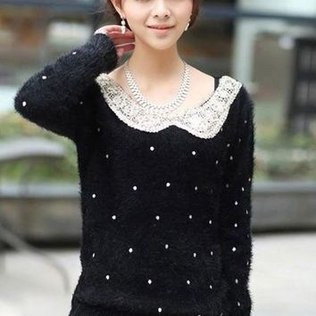 Black Polka Dot Sequin Peter Pan Collar Pullover Sweater