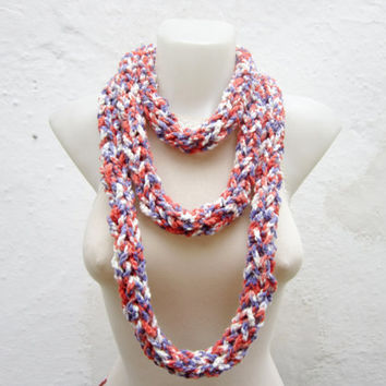 infinity Scarf,Crochet Scarf,Finger Knitting Scarf,Chain Loop Scarf