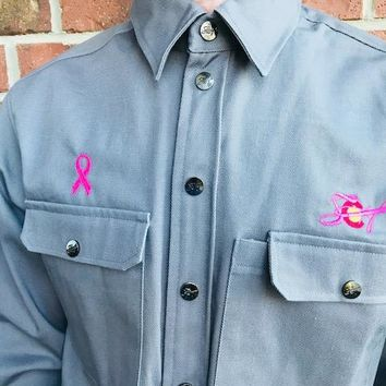 Amazing Breast Cancer Awareness FR Fabric Welding Shirt Changes to Pink when welding, then back to grey!