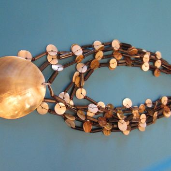 Nautical Clam Shell Abalone Strands Necklace