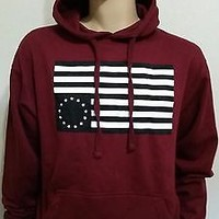 ASAP ROCKY  Burgundy Pullover Hoodie  Flag Logo A$AP MOB hip hop rap run dmc big
