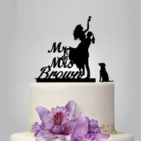 Funny wedding cake topper silhouette, Mr&Mrs cake topper with dog, groom and drunk bride cake topper, personalize name cake topper