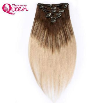 PEAP78W Dreaming Queen Hair Clip In Straight Hair Extensions 100% Brazilian Remy Human Hair 7 Pieces/Set 16 Clips 4/18 Piano Mixed color