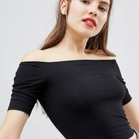 Monki Bardot Crop Top at asos.com