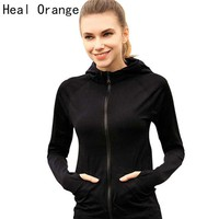 Womens Orange Running Yoga Zipper Long Sleeve Sport Jacket
