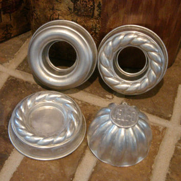 "Vintage Jello Molds 3.75"" Rings Scalloped & 3"" Dome Aluminum Lot of 4 for cakes, salads or soaps"