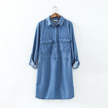 With Pocket Rinsed Denim Denim Shirt [6332283524]