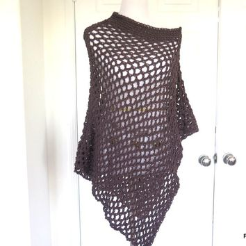Brown Fishnet Asymmetrical Poncho, Hand Crochet Graphite Long Poncho, Gift for Her