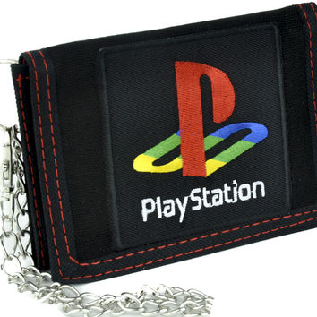 Play Station Tri-fold Wallet with Chain Alternative Clothing Gamer