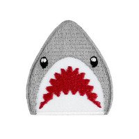 Shark Emoji Embroidered Iron On Patch - FREE SHIPPING