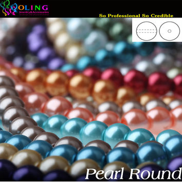 6MM 100PCS glass Pearls beads round pearl imitation DIY Bracelet earrings bead choker necklace Jewelry Making Mixed multicolor