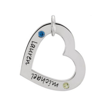 Sterling Silver Posh Mommy Heart Loop w/Birthstones - Small