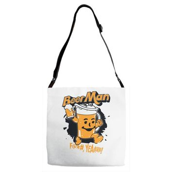 hey beer man Adjustable Strap Totes