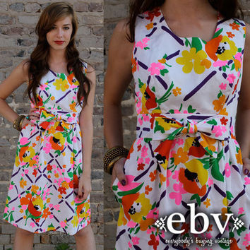Vintage 60's Floral Hippie Mod Bow Empire Waist Babydoll Mini Sun Dress S M