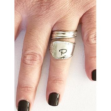 Spoon ring - Initial - Hand Stamped