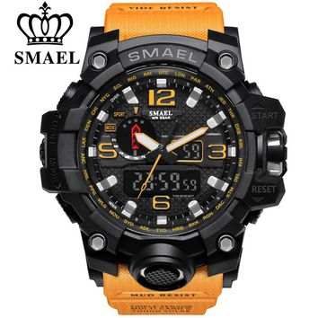 SMAEL Brand Men Sport Watch Dual Display Analog Digital LED Electronic Quartz-Watches Man Waterproof Swimming Wrist Watches Male