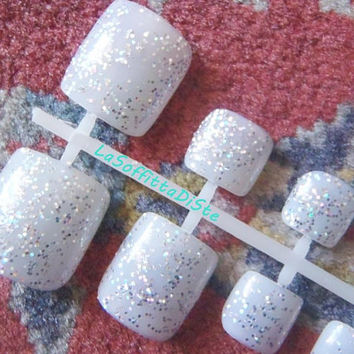 bling glitter 24 hand painted toe false nails fake nails full tips toenails feet pedicure press on wedding man men nails lasoffittadiste