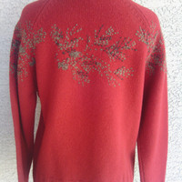 Christmas Sweater Price reduced  SAle! Lamb's wool embroidered / Red& green   zip front Christmas Sweater/cardigan/jacket/ Red/ Small