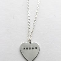 Human Word Heart Necklace in Silver - Valentine's Day - Mother's Day - Custom personalize - Gifts for her