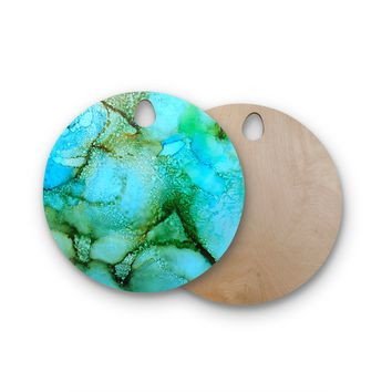 """Carol Schiff """"Sea Garden"""" Teal Green Abstract Contemporary Painting Watercolor Round Wooden Cutting Board"""