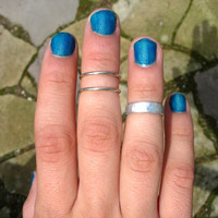 Set of 3 Hand Hammered Aluminum Rings, Mid Finger, Memory Ring, Knuckle Rings, Pinky, Adjustable