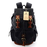 Rucksacks Backpacks Canvas Vintage Bag for Men Causual(Khaki)