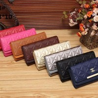 Best Online Sale Fashion Women Chanel Contain Red , Blue , Black , Grey , Gold , Brown , Yellow , Plum Red Flap Wallet Gold Metal - 2028