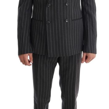 Gray Striped Double Breasted 3 Piece Suit