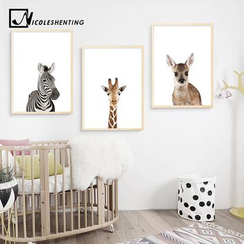 Baby Animal Zebra Giraffe Deer Wall Art Canvas Poster Nordic Nursery Prints Painting Picture Children Kids Bedroom Decoration
