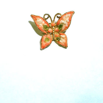 Vintage Butterfly Brooch Pin Coral Brooch Vintage Butterfly Pin Coral and Peridot Mid Century Brooch Butterfly Jewelry