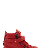 Giuseppe Zanotti Red Leather London High-top Sneakers