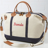 Embroidered Canvas Duffel Bag - Luxurious Weekender - Ladies Gifts